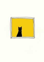 kitty in the window yellow
