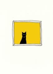 kitty in the window yellow