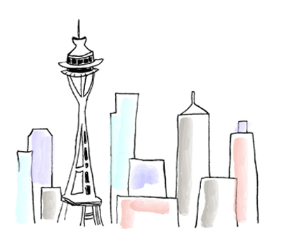 space needle b-day card_watercolor
