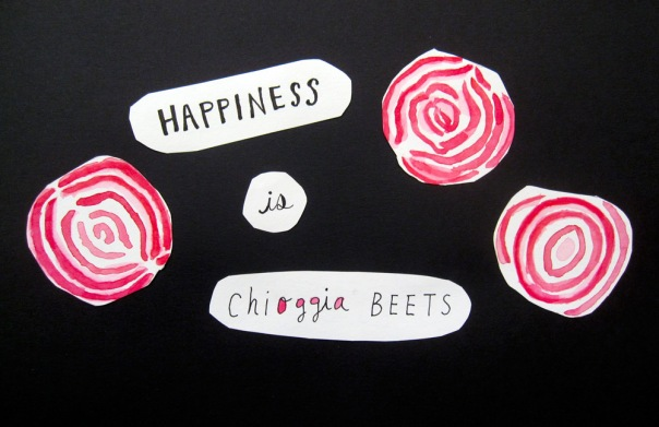 Happiness is chioggia beets.  One of the most beautiful things nature has to offer!