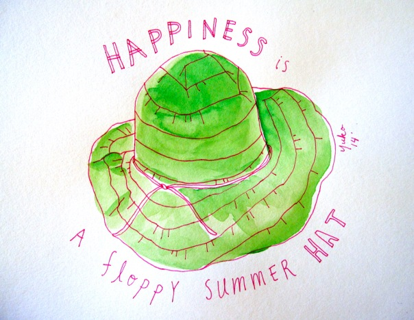 Happiness is a floppy summer hat.