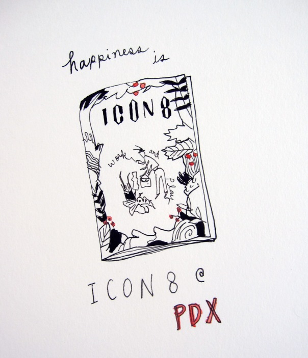 Happiness is Icon8 at PDX!  My very first illustration conference!  An inspiration marathon has started!