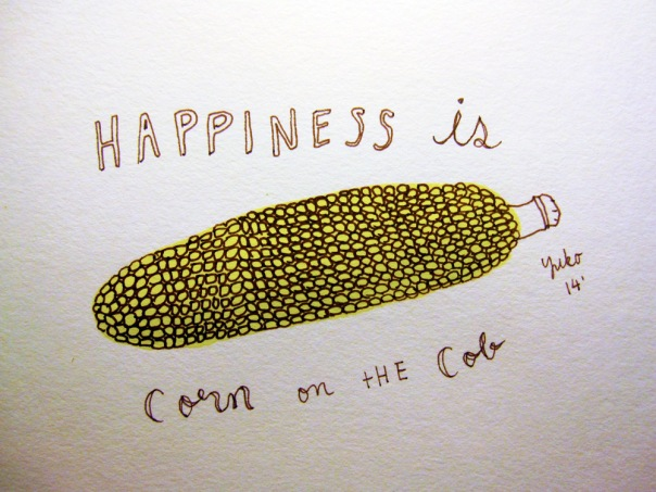 Happiness is corn on the cob.