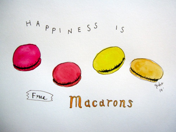 Happiness is free macarons!
