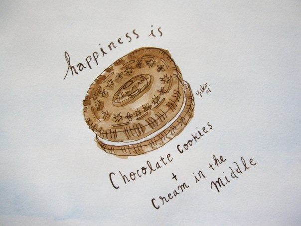 Happiness is chocolate cookies and cream in the middle.