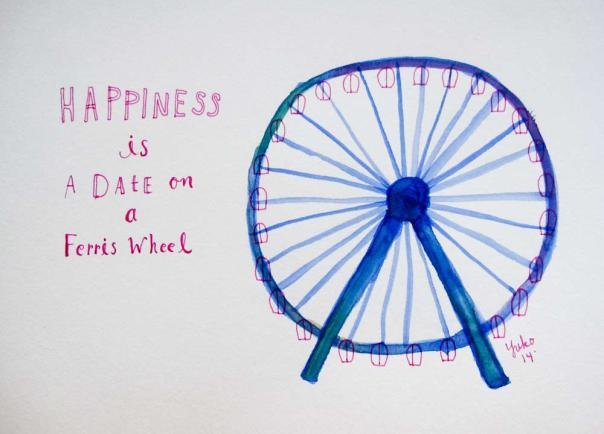 Happiness is a date on a ferris wheel.