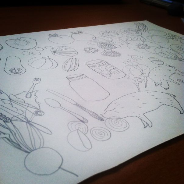 food tattoo sketches
