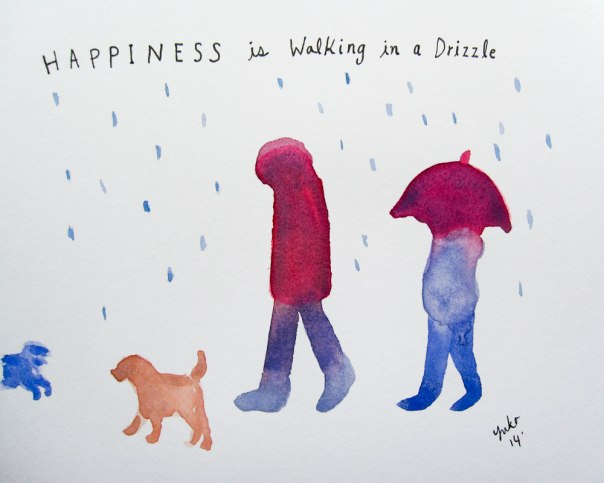Happiness is walking in a drizzle.  With a friend and cute dogs <3