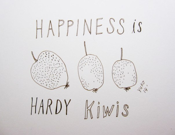 Happiness is hardy kiwis.  And, it has been 6 months since I started the daily happiness drawing!  Woo hoo!  Thank you for coming along on this journey :)