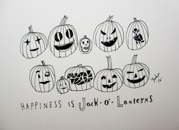 Happiness is jack-o'-lanterns.