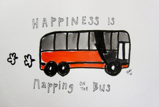 Happiness is napping on the bus.