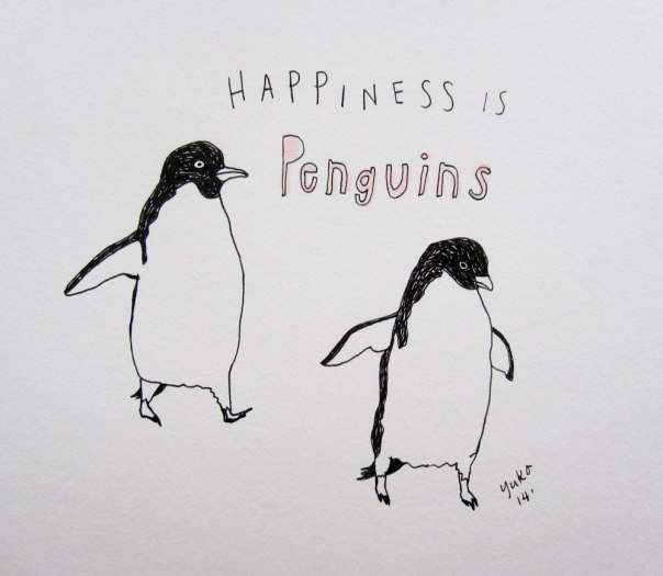 Happiness is penguins.  Watching a slideshow from my friends' trip to Antarctica.