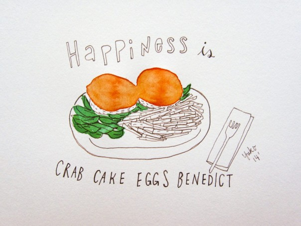 Happiness is crab cake eggs benedict.  On a bed of spinach, with roasted bell pepper sauce.  Yum.