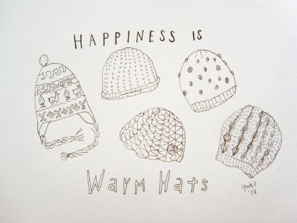 Happiness is warm hats.