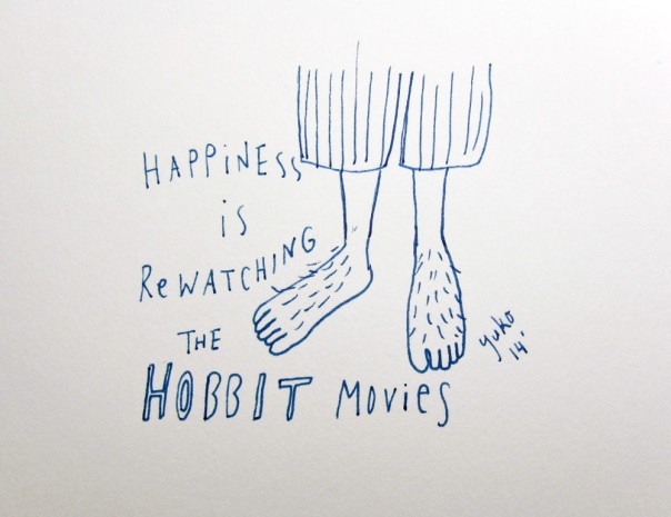 Happiness is re-watching the Hobbit movies.  Preparing for the movie 3!!