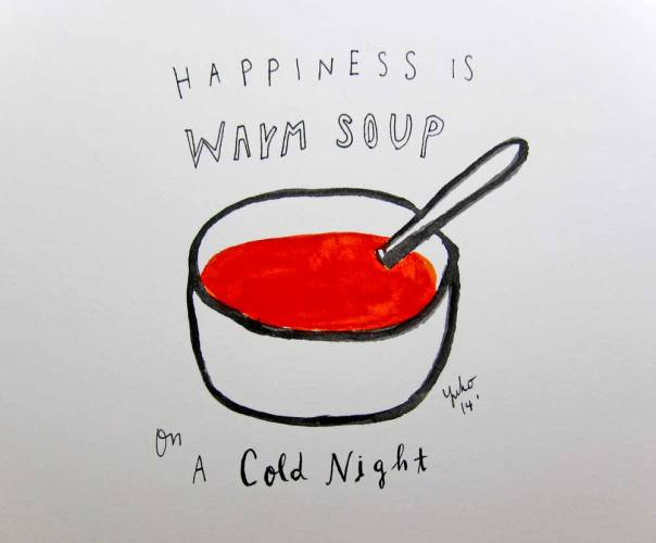 Happiness is warm soup on a cold night.  Creamy Tomato <3