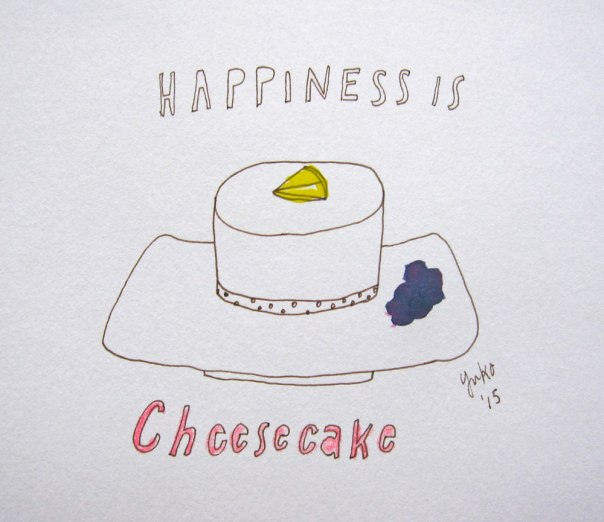 Happiness is cheesecake.