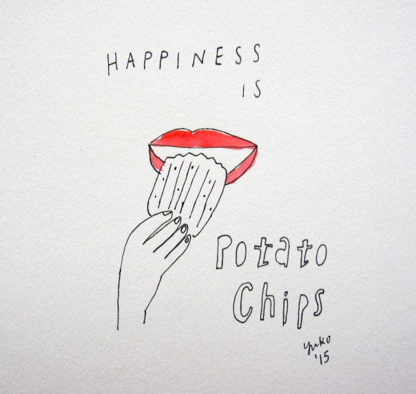 Happiness is potato chips.  Especially the crinckle-cut ones!