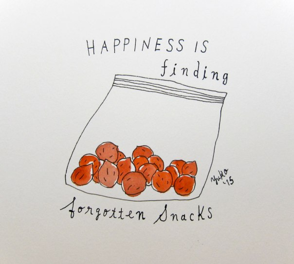 Happiness is finding forgotten snacks.