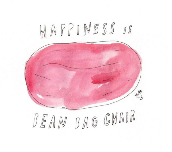 Happiness is bean bag chair.  They. are. so. comfy!