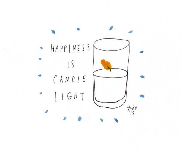 Happiness is candle light.