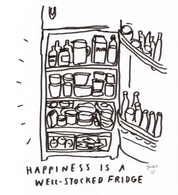 Happiness is a well-stocked fridge.