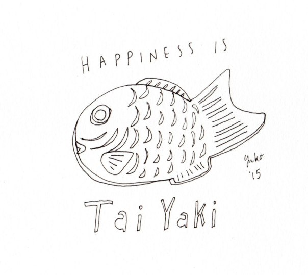 Happiness is Taiyaki. I accidentally found a food truck that makes Taiyaki, which is like a fish-shaped pancake stuffed with sweet red bean paste.  Happy!
