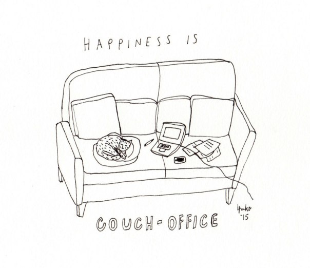 Happiness is couch-office. Slash kitty bed :)
