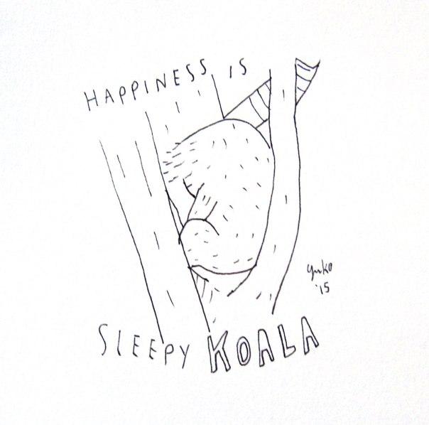 Happiness is sleepy koala.  I learned today koalas sleep like 22 hours a day!