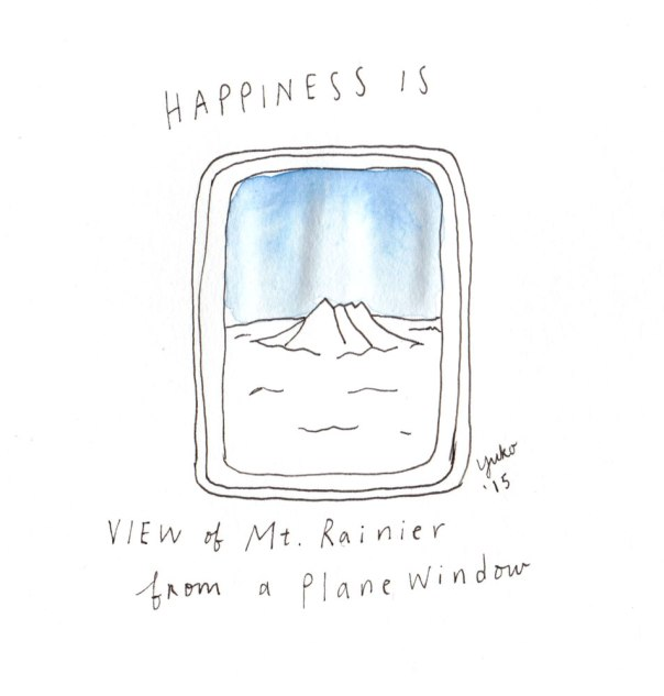 Happiness is a view of Mt. Rainier from a plane window.  Ah, it's good to be home... :)
