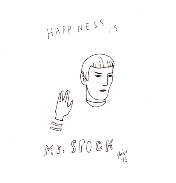 Happiness is Mr. Spock.  Just watched Star Trek III: The Search for Spock. Sniff.