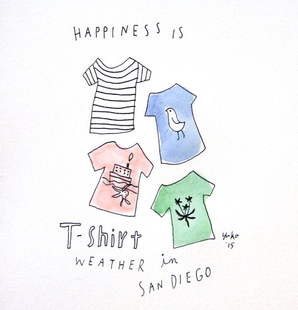 Happiness is T-shirt weather in San Diego. Love it <3