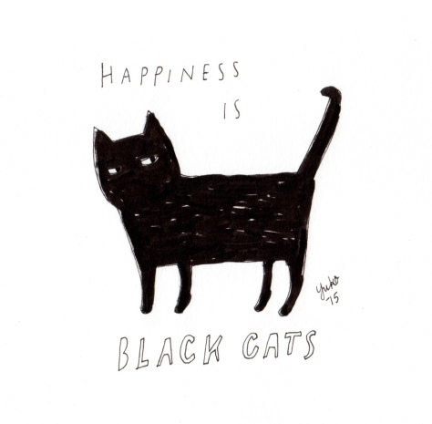 Happiness is black cats. My little boy brings me happiness, not bad luck :)