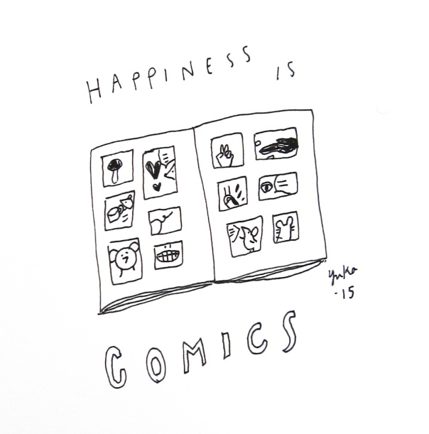 Happiness is comics.  I grew up reading a bunch of comics in Japan.  It was so nice to discover comics and cartoonists I like at the Linework NW, illustration and comics festival in Portland OR this past weekend.