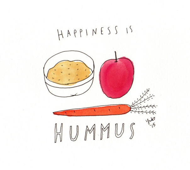 Happiness is hummus. I <3 hummus!