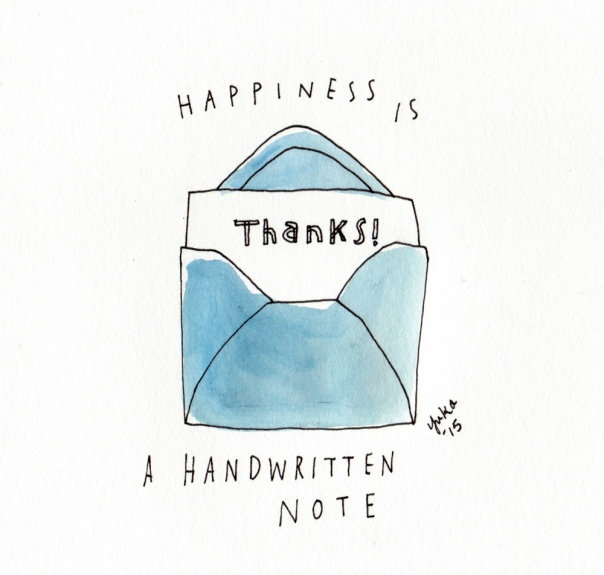 Happiness is a handwritten note.