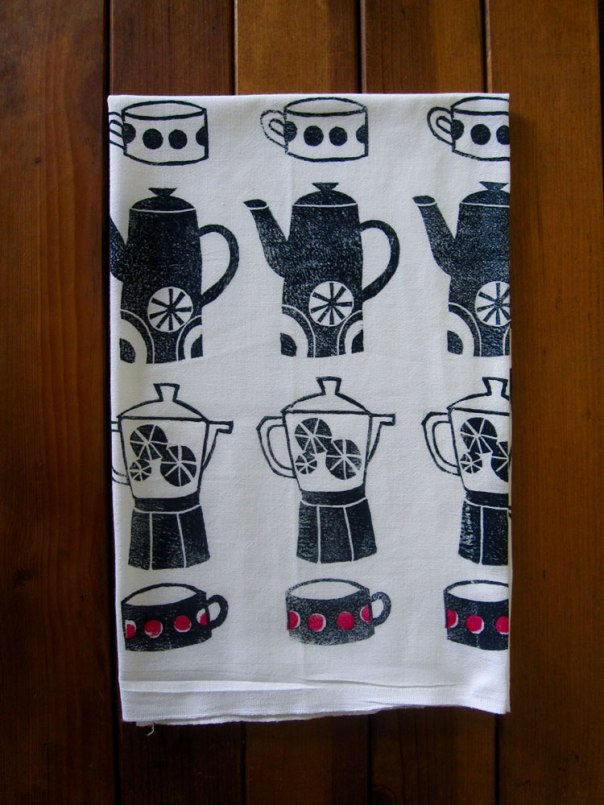 block printed tea towel teapot coffee pot tea cup design