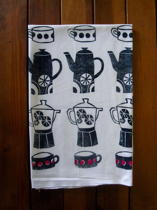 block printed tea towel teapot coffee pot tea cup design
