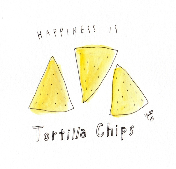 Happiness is tortilla chips.  My current addiction is Late July Organic's SubLime Chips.  Great texture and flavor.  Mmmm.