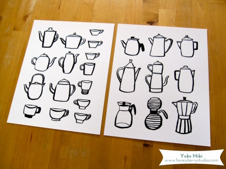 Vintage Coffee Maker & Tea Pots Art Print