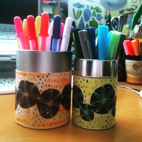 I even decorated pen holders using the new markers & pens <3
