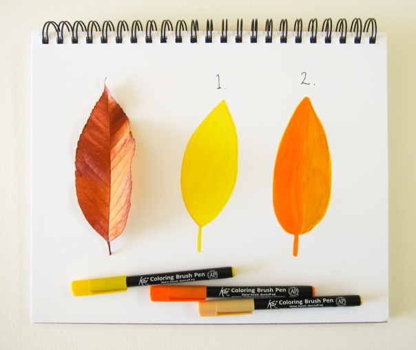 Example of layering colors. I used Yellow to draw the first leaf and layered Orange in half and Woody Brown on the other half.