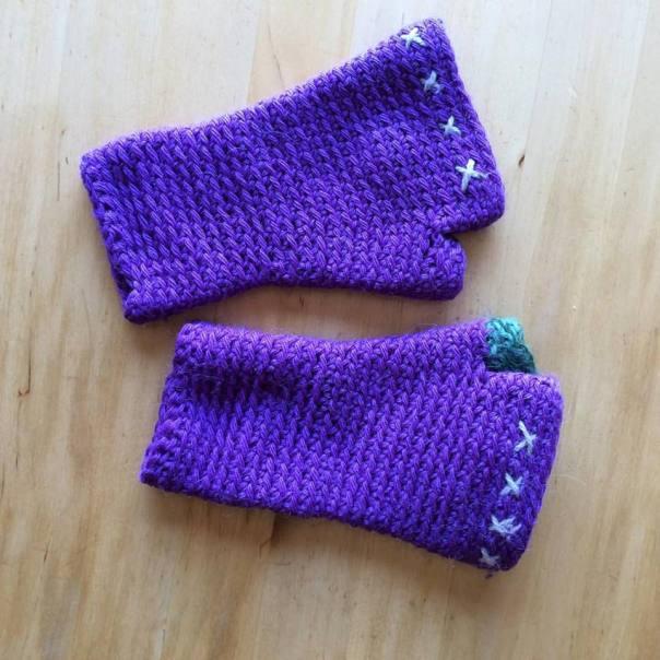 the purple gloves