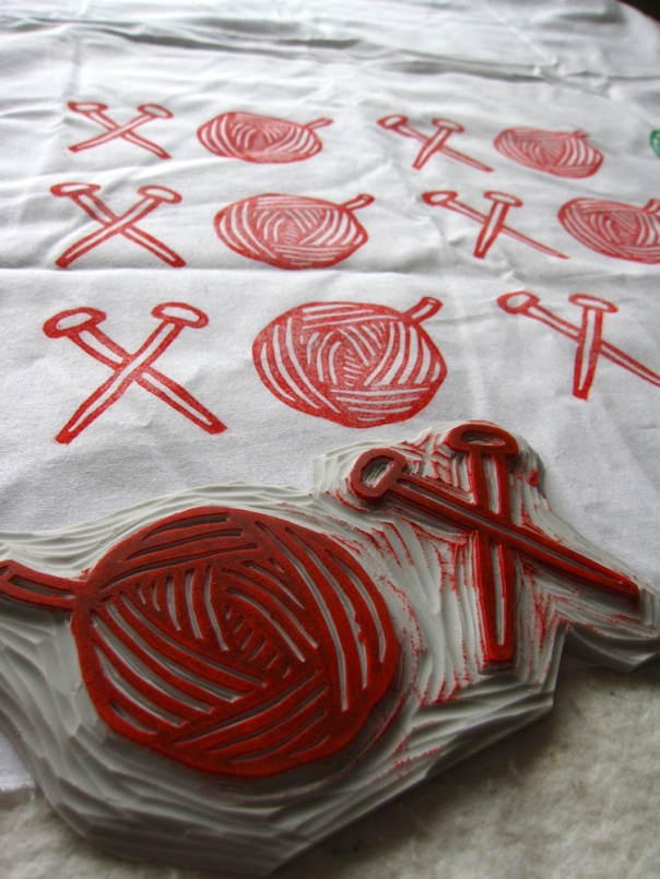 block printing on fabric xoxo valentines design