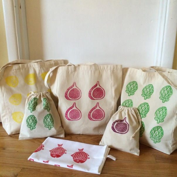 block printed bags and towels