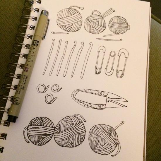 Crochet tools doodle