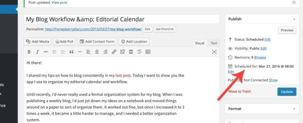 WordPress honeyberry diary draft schedule