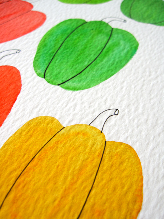 Bell Pepper Watercolor Illustration by Yuko Miki