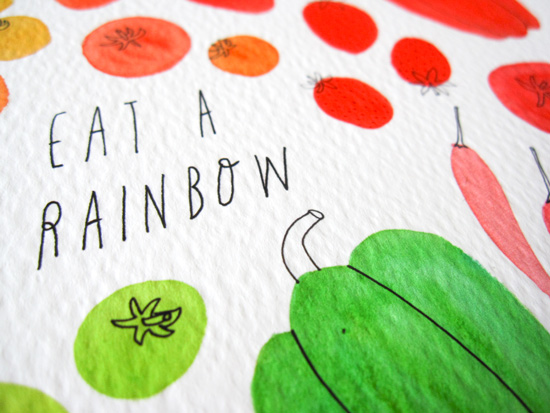 Eat a Rainbow Watercolor Illustration by Yuko Miki