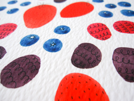 Summer Berry Watercolor Illustration by Yuko Miki